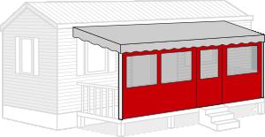 Bâche terrasse mobil home sur-mesure façade