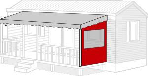 Bâche terrasse mobil home sur-mesure côté droit