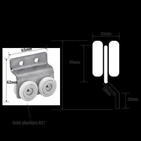 Roulettes galet nylon diamètre Ø 31mm
