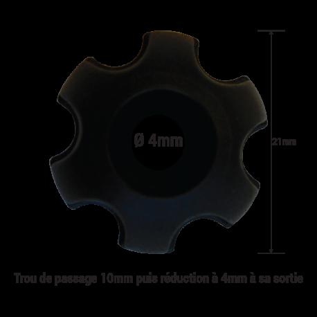 Bouton pvc noir trou de passage Ø 4mm