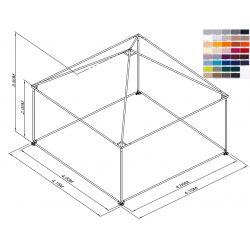 Pyramide 4x4 ou 16 m² COULEUR