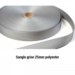 Sangle grise 25mm rouleau de 50m polyester