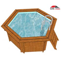 B che et couverture pour piscine hexagonale point b ches for Enrouleur bache piscine hexagonale