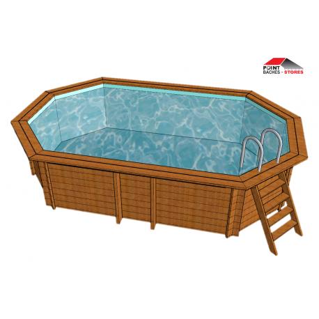 Bache piscine octogonale allongée
