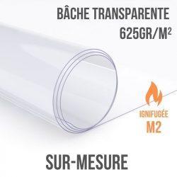 Bâche transparente 625gr/m² ignifugée M2 sur-mesure