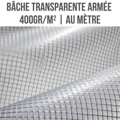 Bâche PVC transparente armée 400gr/m² pour serre au mètre linéaire largeur 150cm