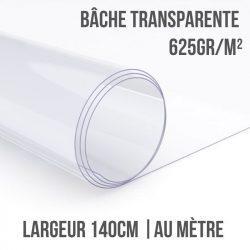 Bâche PVC transparente 625gr/m² au mètre linéaire largeur 140cm