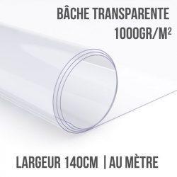 Bâche PVC transparente 1000gr/m² au mètre linéaire