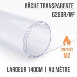 Bâche PVC transparente 625gr/m² ignifugée M2 au mètre linéaire largeur 140cm