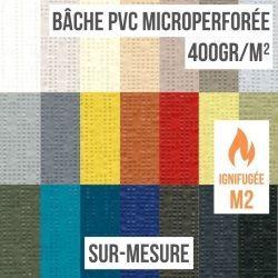 Bâche PVC microperforée 400gr/m² ignifugée M2 sur-mesure