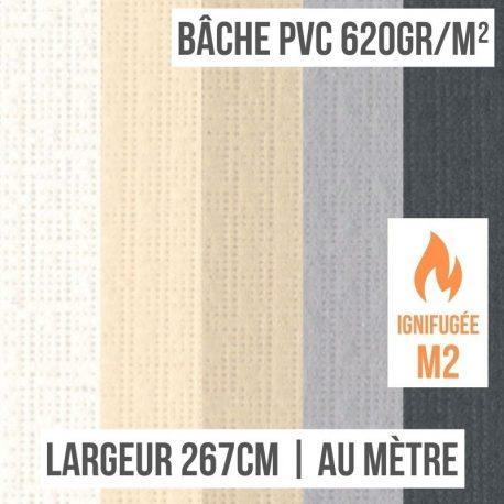 Bâche PVC 620gr/m² ignifugée M2 au mètre linéaire largeur 267cm