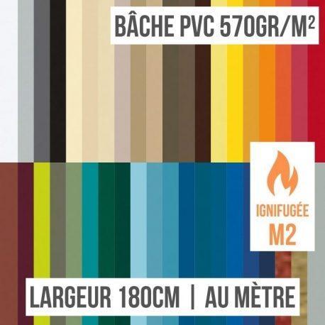 Bâche PVC 570gr/m² ignifugée M2 au mètre linéaire largeur 180cm