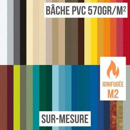 Bâche PVC 570gr/m² ignifugée M2 sur-mesure